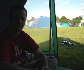James, with camping stove in background