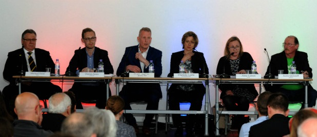 Right to left: Michael Frost (UKIP); Darren Jones (Labour); Mike Norton (chairman); Charlotte Leslie (Conservative); Anne Lemon (TUSC); Justin Quinnell (Green Party)